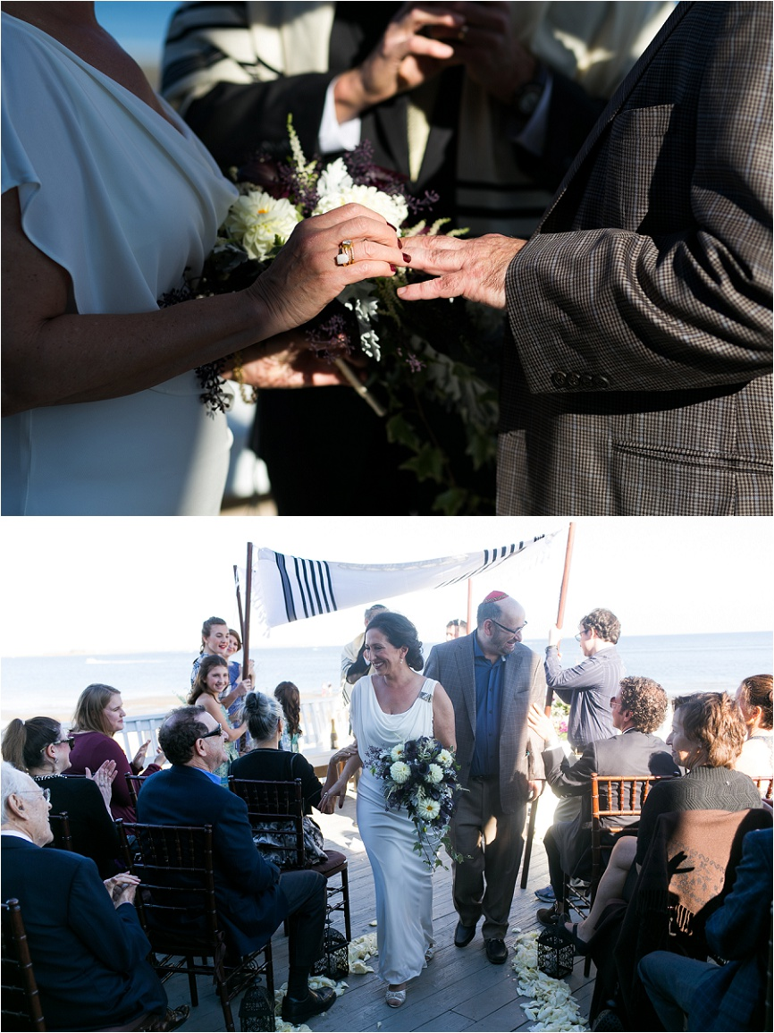 outdoor wedding ceremony at Penfield Beach in CT