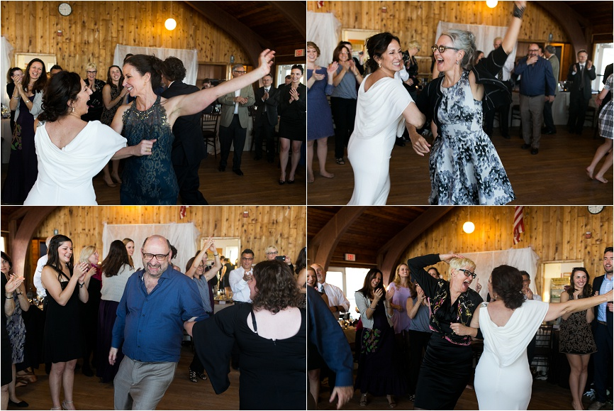 jewish hora dance at ct beach wedding
