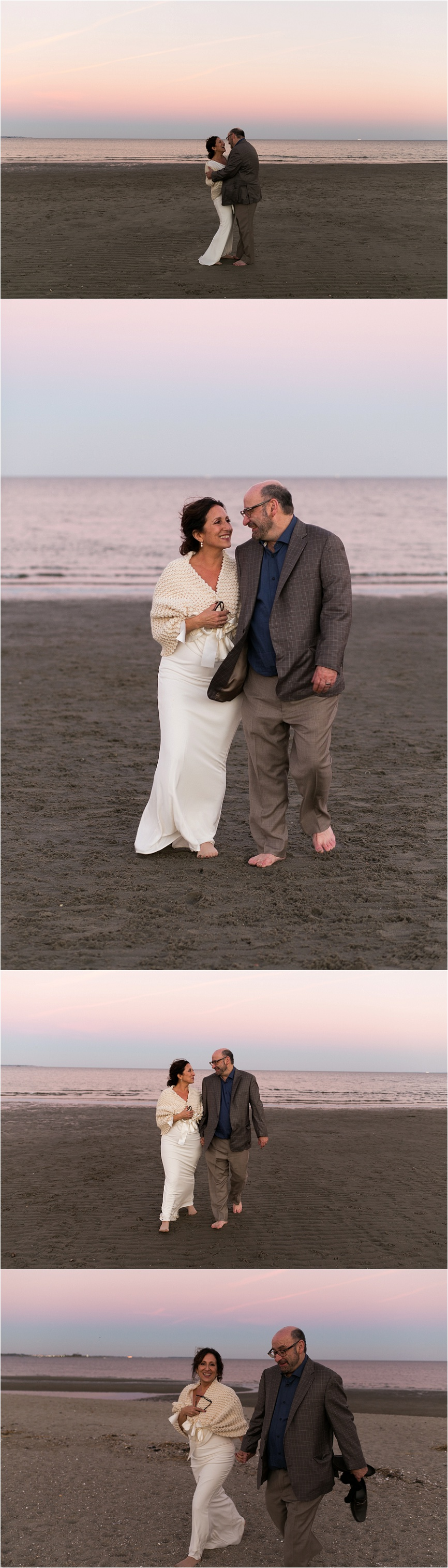 bride and groom photos on the beach in ct at sunset
