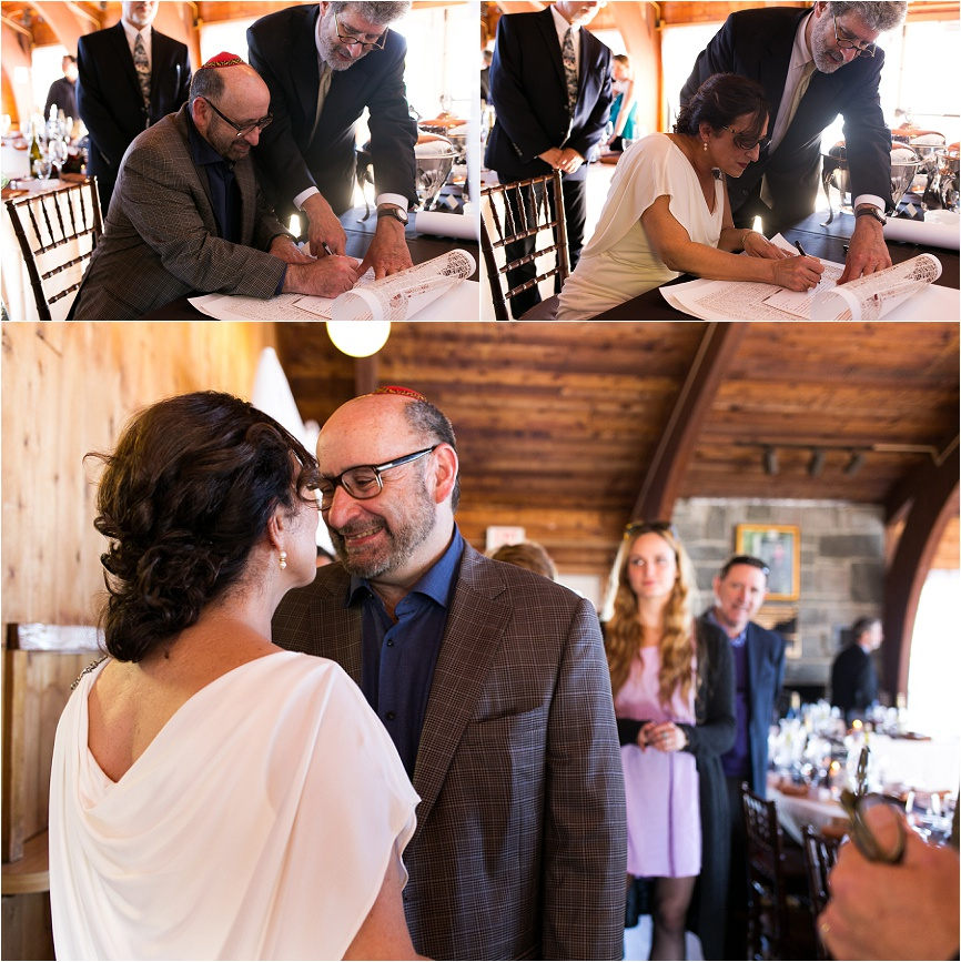 photo of bride and groom signing jewish ketubah