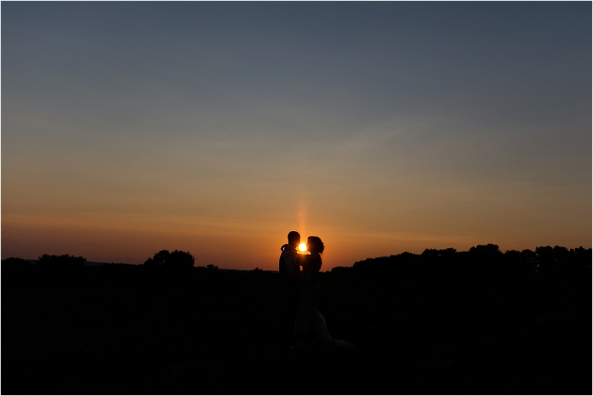Sunset is the perfect time to capture bride and groom portraits
