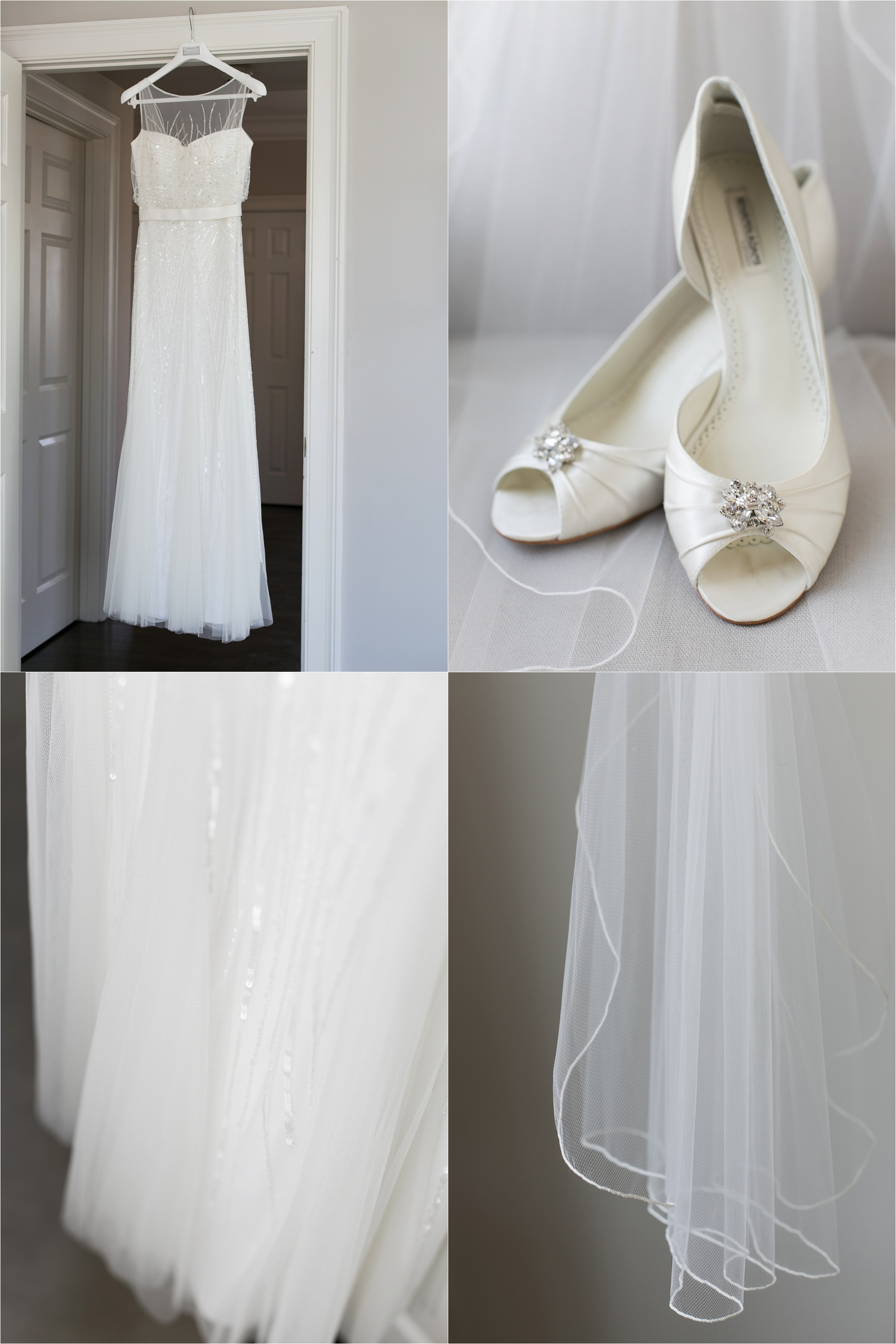 Photo of the brides dress, shoes, and veil