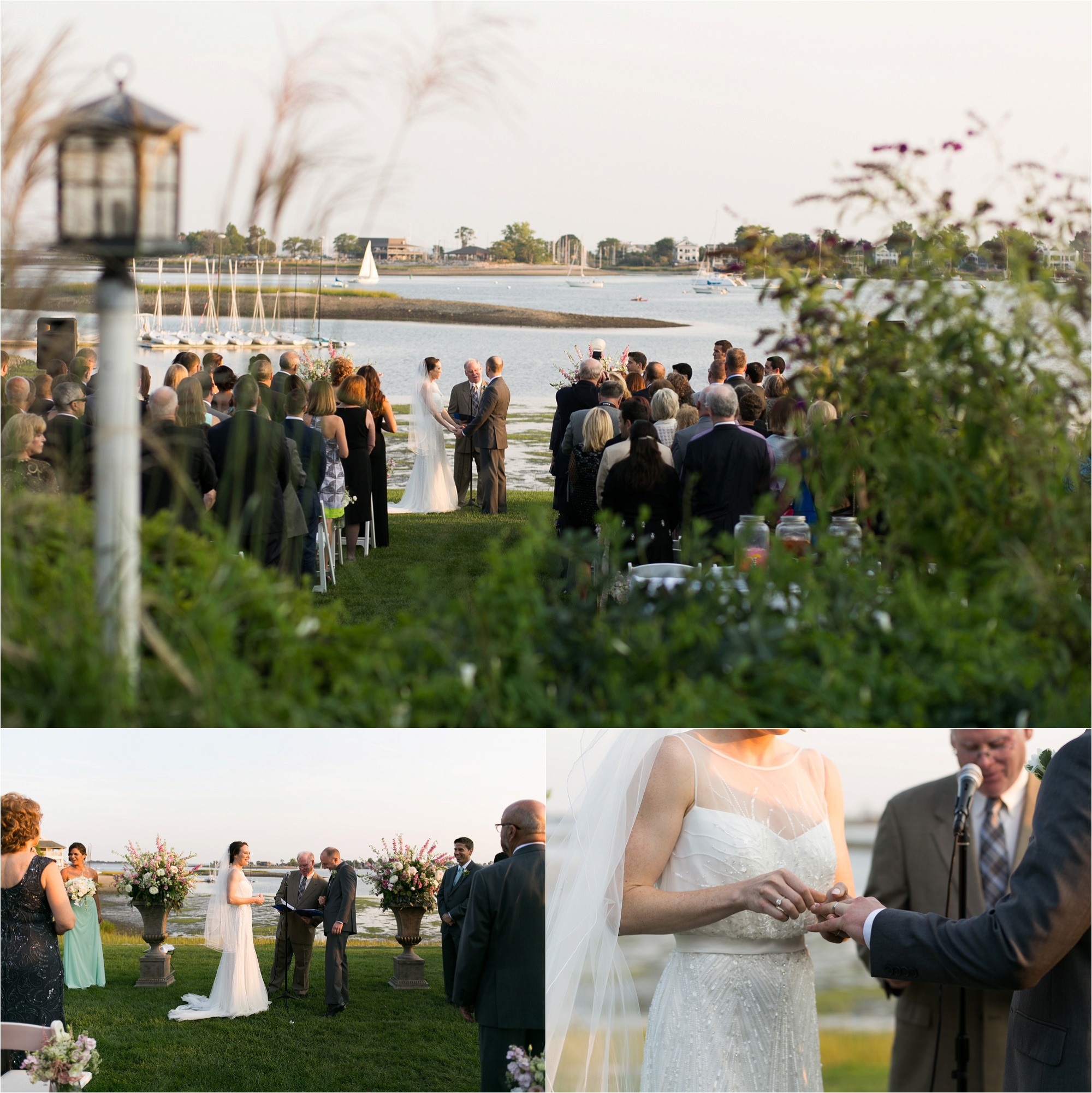 The Inn at Longshore features a dramatic coastal setting for an outdoor wedding ceremony