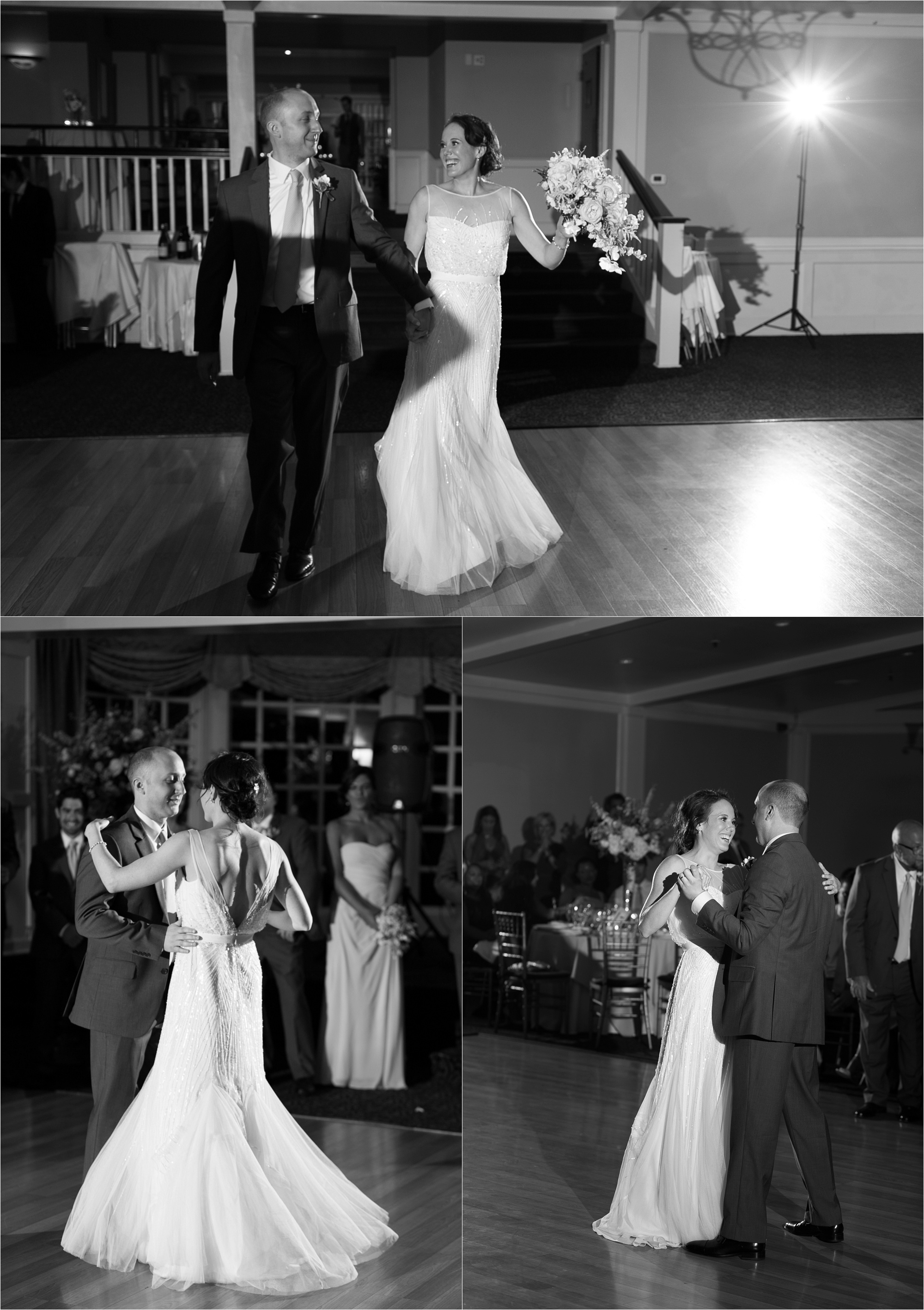 The bride and groom enjoy their first dance in front of friends and family