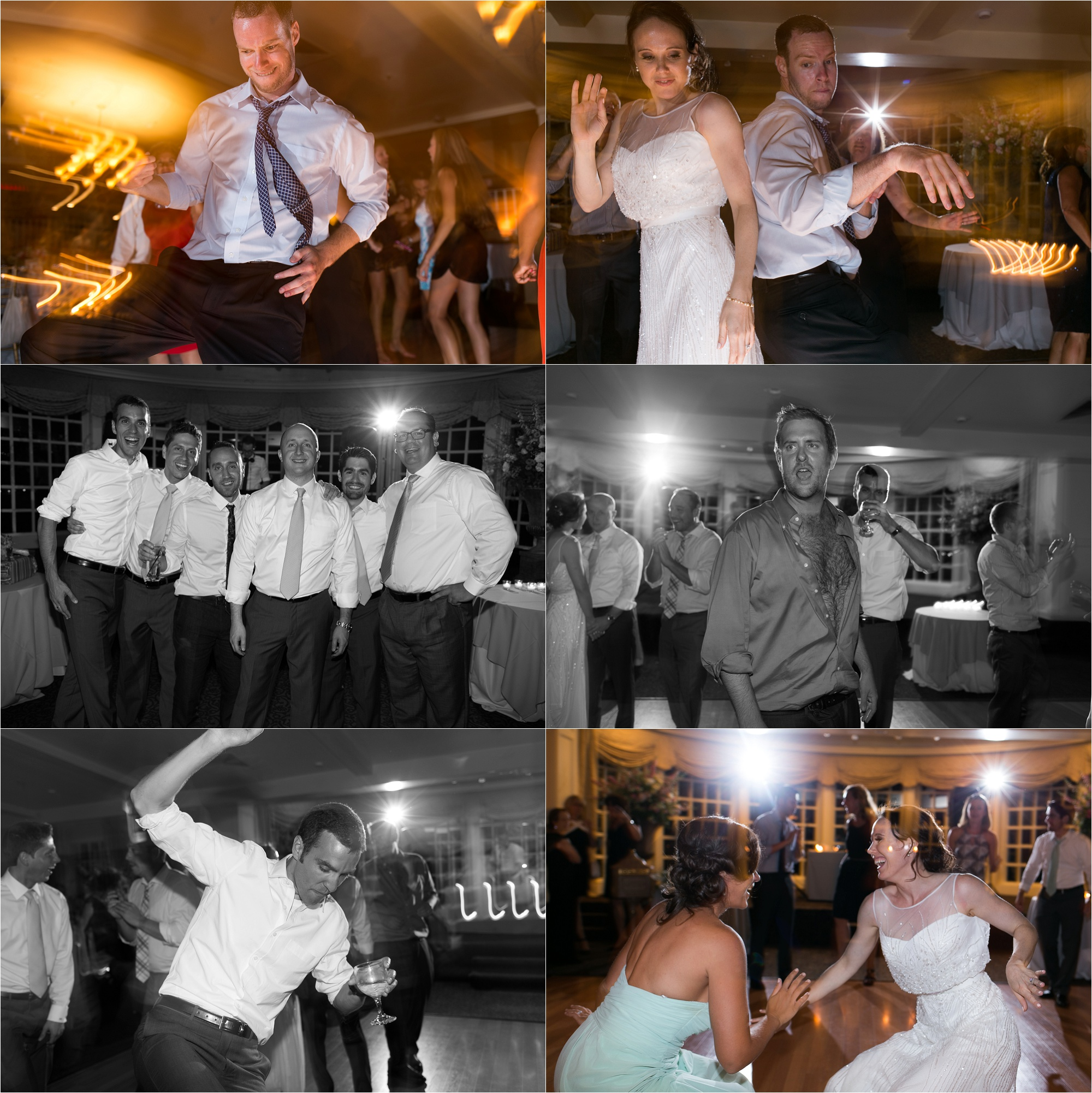 The bride, groom, and their guests dance the night away at their wedding reception