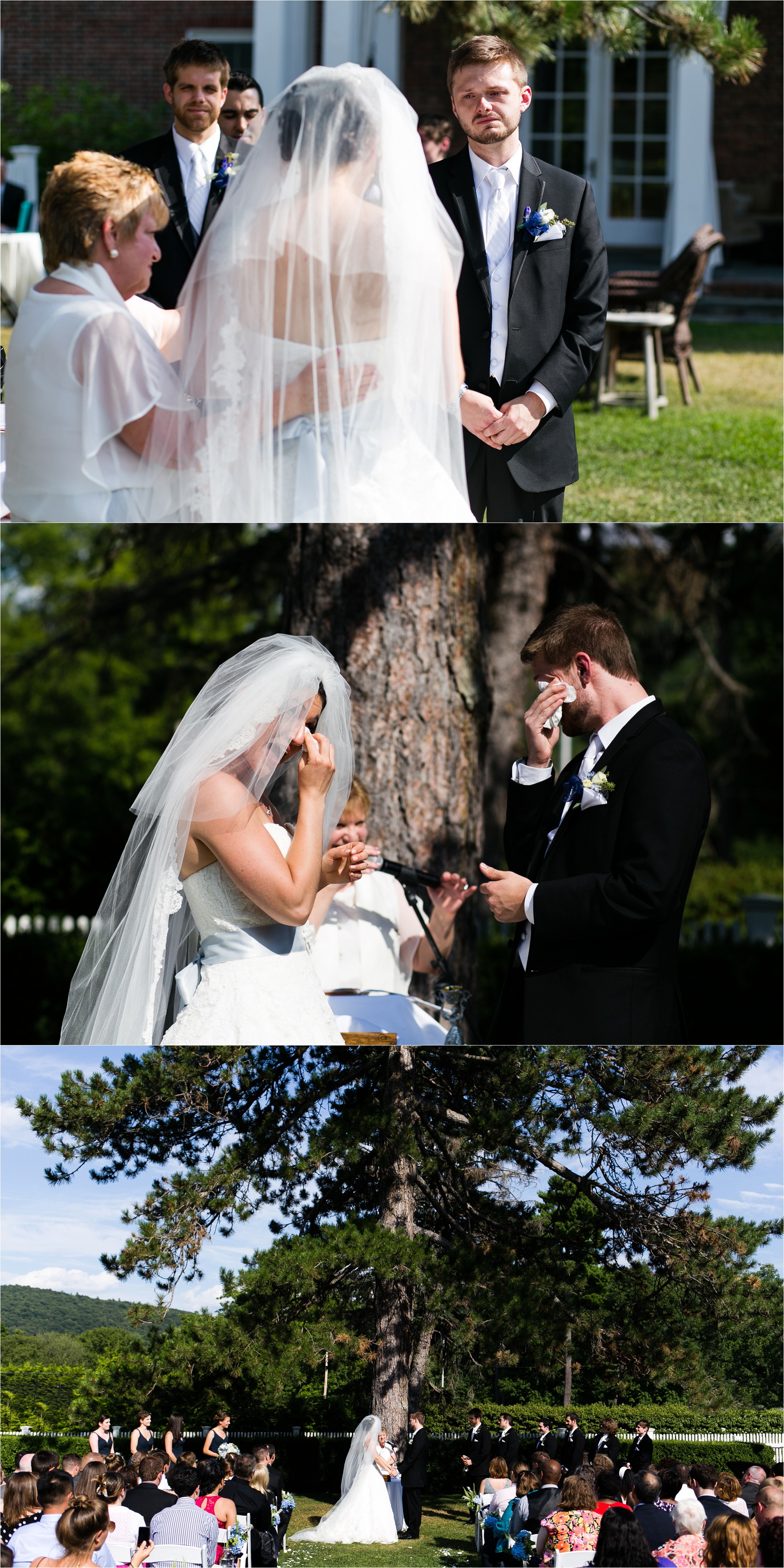 The bride and groom share a sentimental moment during their wedding ceremony